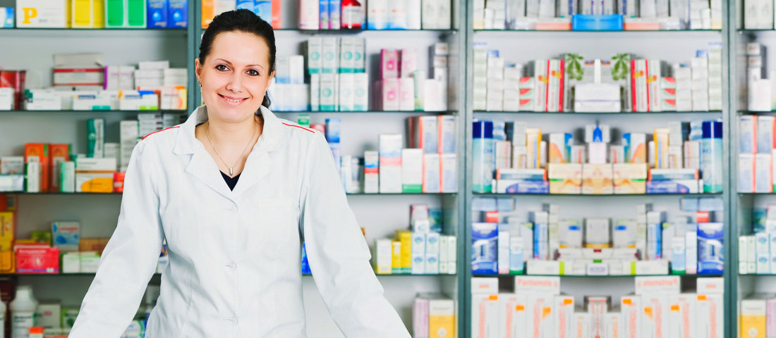 a lady pharmacist smiling