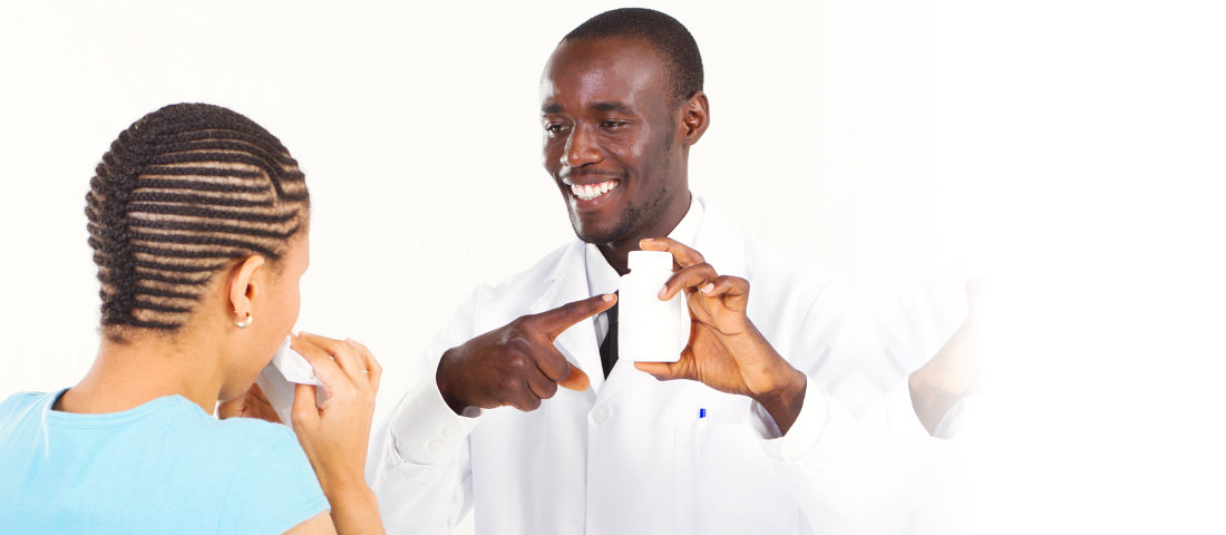 pharmacist smiling to his customer